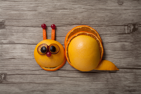 grape snail: Snail made of orange and grape on board