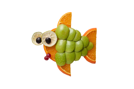 funny fish: Funny fish made of apple and orange