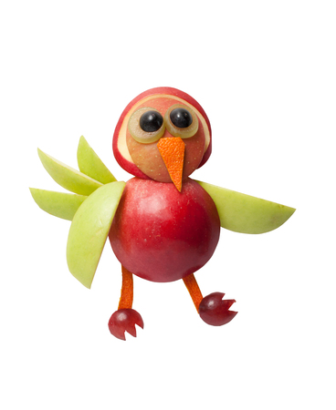 healthy meals: Funny bird made of apple on isolated background