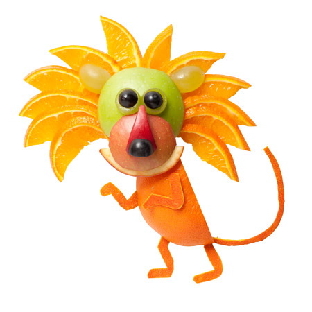 sneaky: Sneaky lion made of orange on isolated background