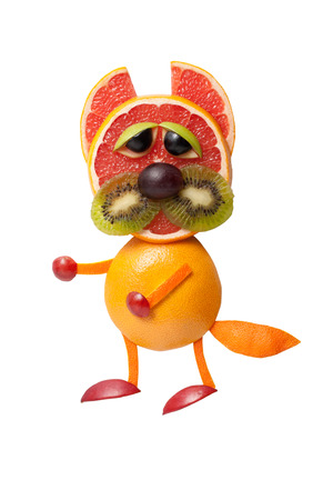 caricature cat: Standing cat made of fruits on isolated background
