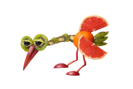 Funny pecking bird made of fruits on white background