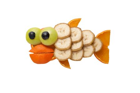 funny fish: Funny fish made of banana and orange