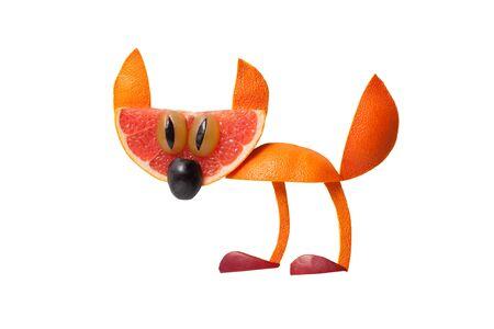 Funny cat made of orange on isolated background Stock Photo