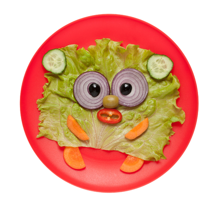 affordable: Funny bear made of fresh vegetables on red plate Stock Photo