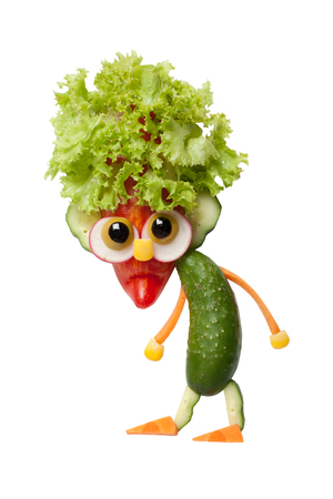 Gnome made of fresh vegetables on isolated background 版權商用圖片