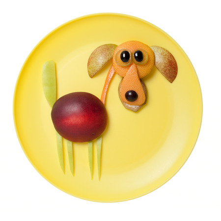 Dog made with peach and orange on yellow plate Stock Photo