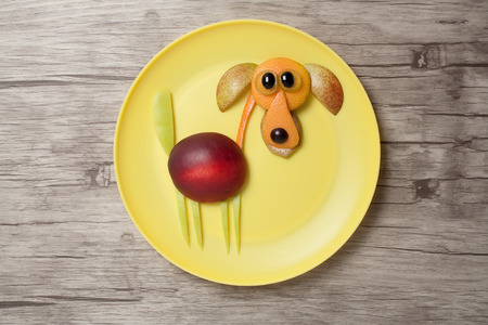 Funny fruit dog on yellow plate and wooden board