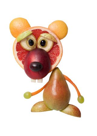 Funny bear made with fresh juicy fruits Stock Photo
