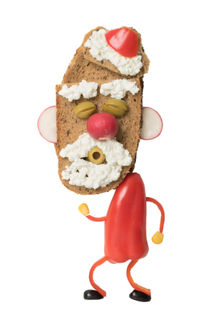 Dancing Santa made as sandwich on white background Stock Photo