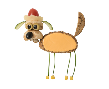 Santa dog made as a sandwich on isolated background