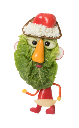 Santa made from salad, pepper and bread Stock Photo