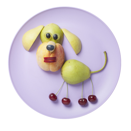 Funny fruit dog made on purple plate Stock Photo