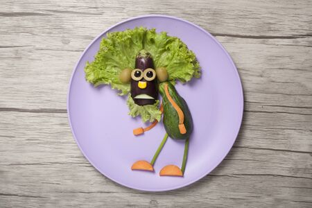 Idea for creating a granddad figure with healthy vegetables