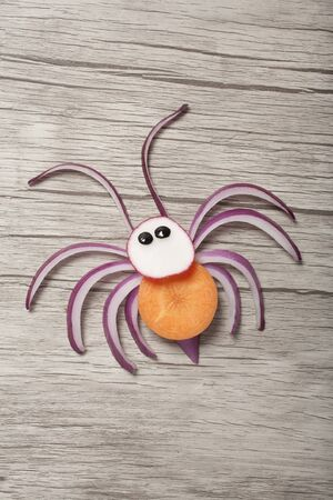 Creative idea for making a spider with vegetables Stok Fotoğraf
