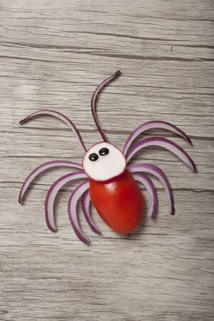 Spider compiled with onion, tomato and radish on wooden board Stok Fotoğraf