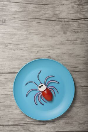 Spider made with fresh vegetables on blue plate