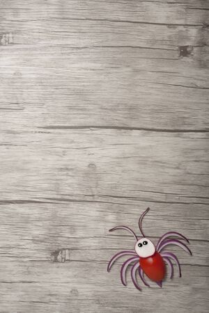 Funny vegetable spider made on wooden background
