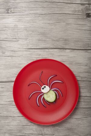 Spider compiled with onion and cucumber on red plate