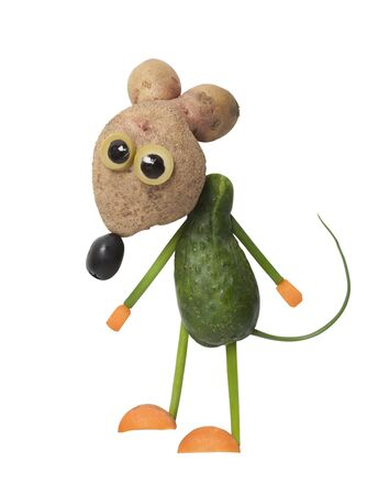 Mouse made with cucumber and potato on white background Stok Fotoğraf