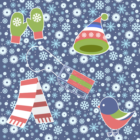 birdie: Seamless Pattern - Snowflake, Vector, Snow, Backgrounds, Snowing. warm knitted cap and mittens, birdie bullfinch, sledge, scarf
