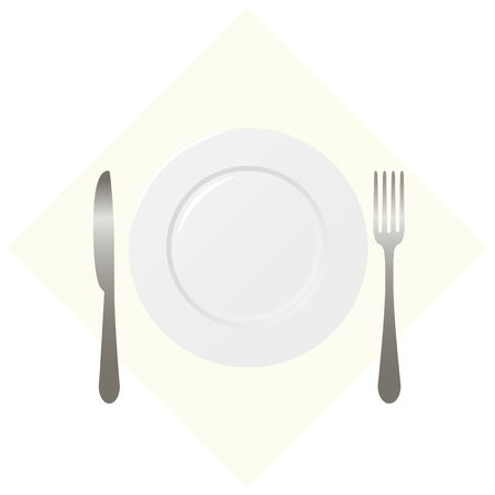 table set: table set - a fork, a knife and a plate