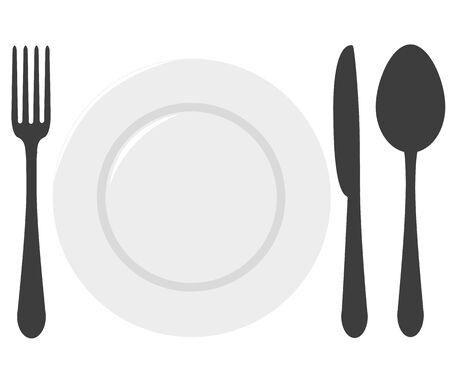 table set: table set - a spoon, a fork, a knife and a plate