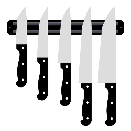 paring: Set of knives on magnetic holder isolated on white