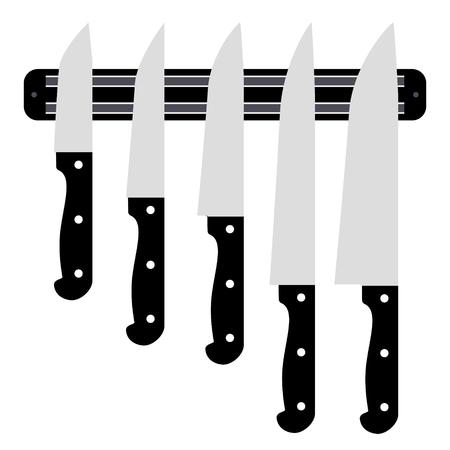 paring knife: Set of knives on magnetic holder isolated on white