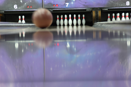 bowling strike: sphere on a path for bowling. Bowling strike Stock Photo