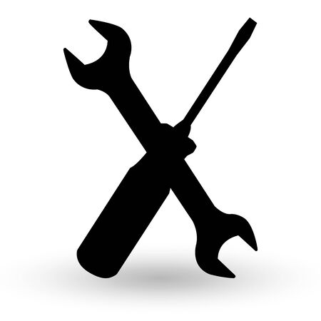 screw-driver and spanner wrench silhouette. isolated on a white background