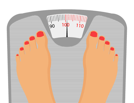 weighing scale: Persons Feet on Weighing Scale . isolated on a white background