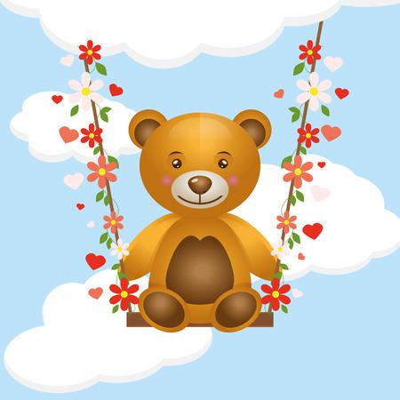 ourson: jouet ourson sur une balançoire. vecteur