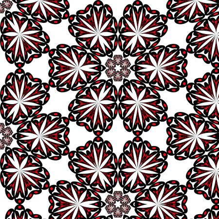 curvilinear: symmetric seamless pattern black-red on a white background