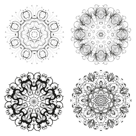 fascinated: set of different circular symmetric patterns.  isolated on white background Illustration