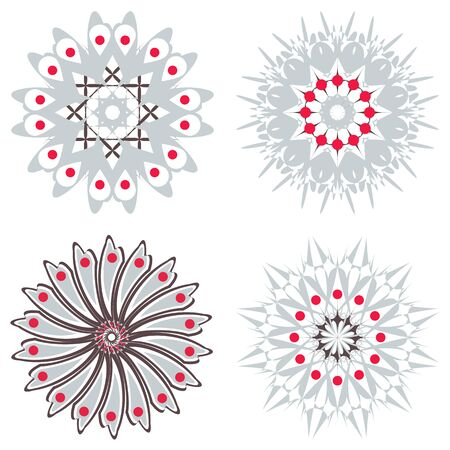 symmetric: set of symmetric  trichromatic patterns. Vector illustration.