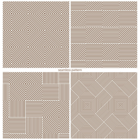 abstract shape: set of seamless patterns of strips and squares. vector illustration