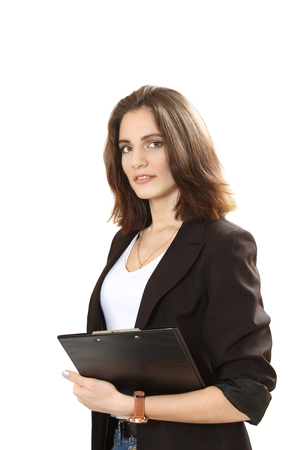 sure: nice sure business woman. isolated on a white background Stock Photo