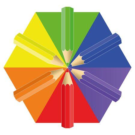 colour pencils: pencils of six flowers. vector illustration