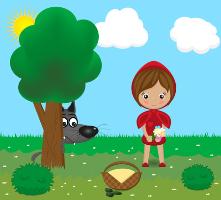 cartoon little red riding hood: fairy tale characters - a wolf and the little girl. vector illustration