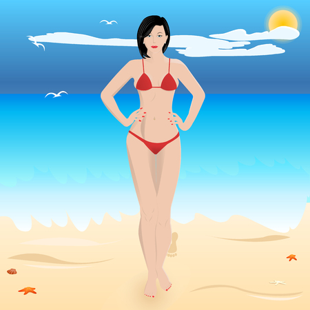 harmonous: beautiful sexy woman in a swimsuit on the beach. vector illustration Illustration