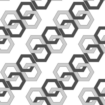 complex system: seamless pattern - hexagonal links of an abstract chain. vector illustration Illustration