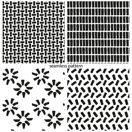 asymmetrical: set of seamless patterns - abstract asymmetrical bricks. vector illustration