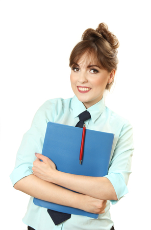liberated: nice businesswoman with the folder in hands. isolated on a white background Stock Photo