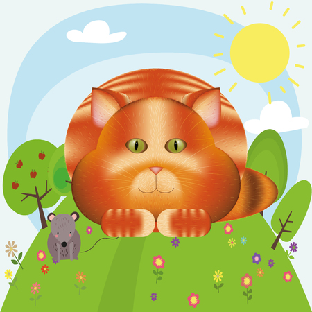 Cat and a mouse are cartoon characters Illustration