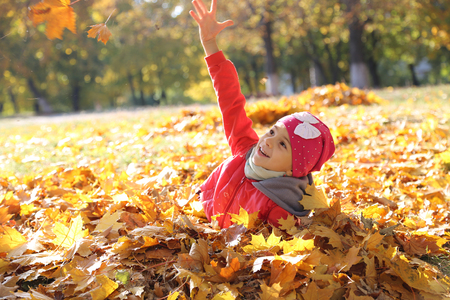 happy little baby girl playing in autumn in yellow leaves Reklamní fotografie