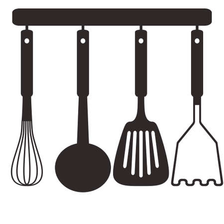 Kitchen tools on a hanger. . Isolated vector illustration on white background.