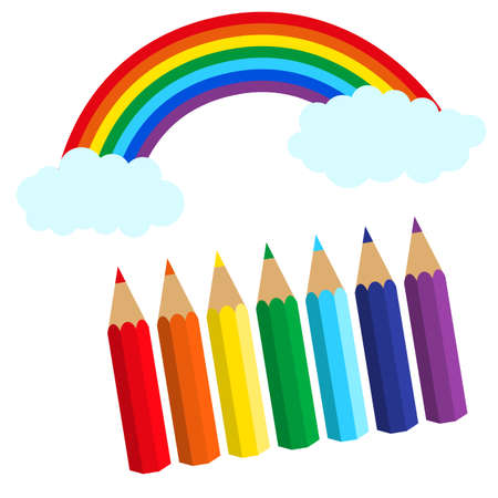 set of colored pencils and rainbow. vector