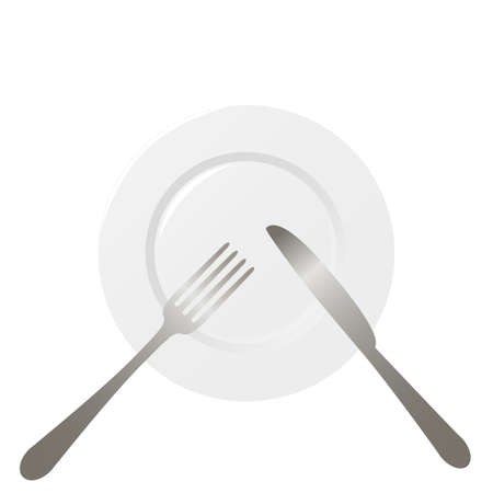 Empty plate with spoon, knife and fork on a white background. Ilustrace