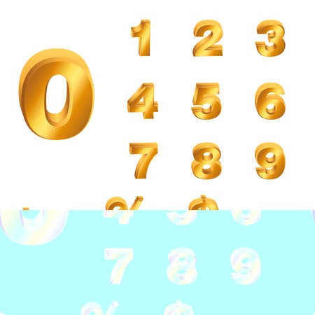 Golden numbers and punctuation marks with shadow. Vector set Ilustracja
